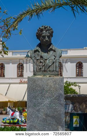 Zakynthos - may 14: Bust Of Niccolò Hugo Foscolo of Zakynthos, may 14, 2013 in Zakynthos, Greece