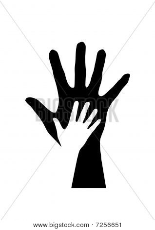 Hands silhouette.