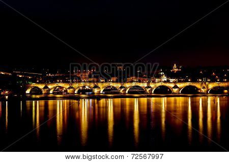 Charle's bridge in Prague at night