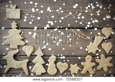 Snowy Ginger Bread Background With Copy Space