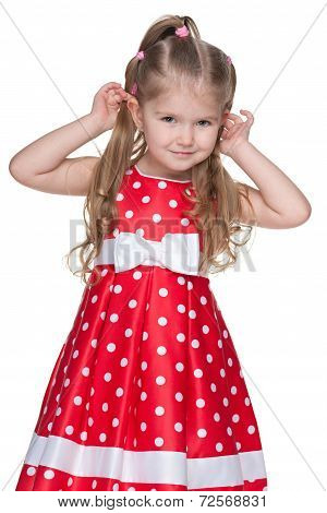 Adorable Little Girl In The Polka Dot Dress