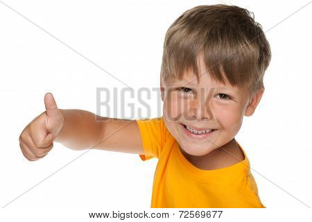 Young Happy Boy Holds His Thumb Up