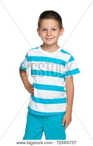 Smiling Little Boy In A Blue Striped Shirt
