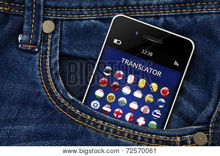 Mobile Phone With Language Translator Application In Jeans Pocket