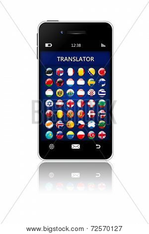 Mobile Phone With Language Translator Application Over White