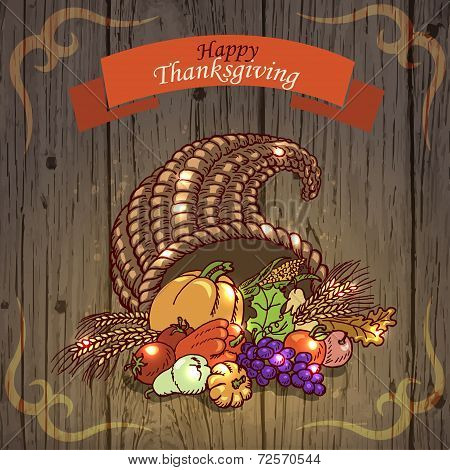 Thanksgiving Day. Greeting Card On Wood Background