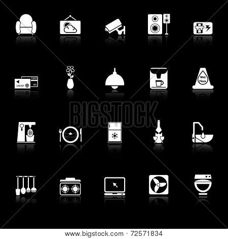 Cafe And Restaurant Icons With Reflect On Black Background