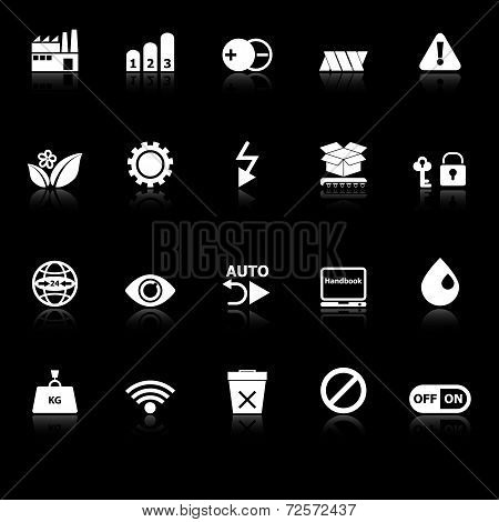 Electronic Sign Icons With Reflect On White Background