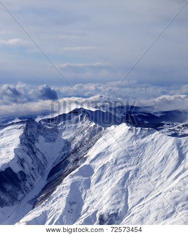 Winter Mountains In Mist At Windy Winter Day