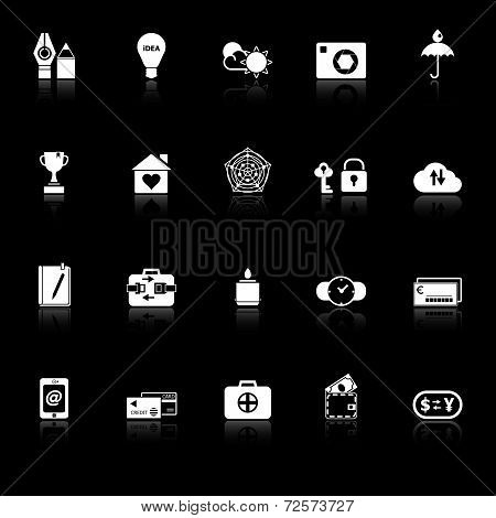 Insurance Sign Icons With Reflect On Black Background