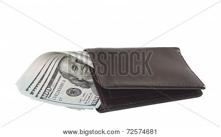 New 100 dollar banknotes in wallet