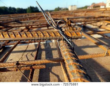 Binding Rebar Before Concreting