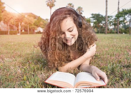 Girl Reading The Park