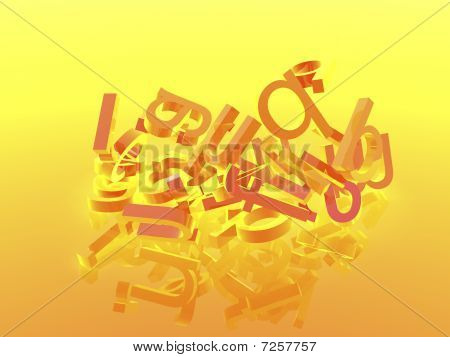 Orange Background With Letters