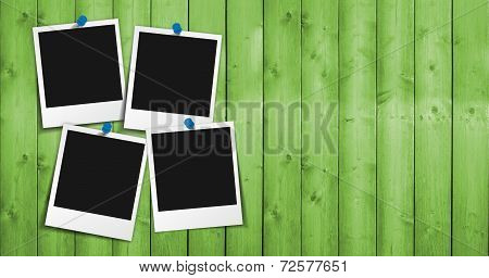 Blank Photo Frame On Green Wood