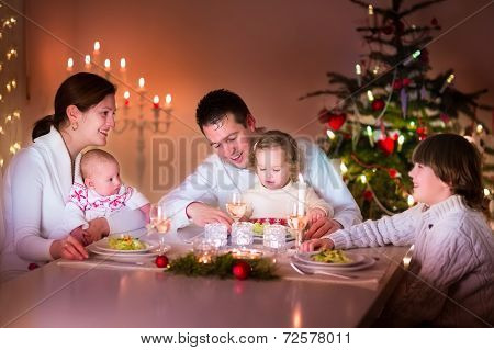 Happy Big Family At Christmas Dinner