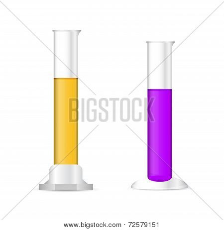 Illustration Of Chemical Cylinders With Colored Solutions On White Background