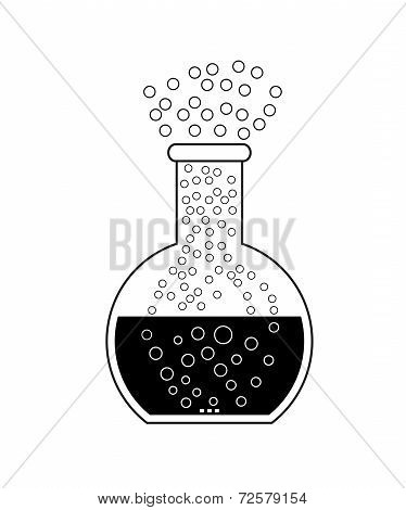 Flat Bottom Chemical Flask On A White Background