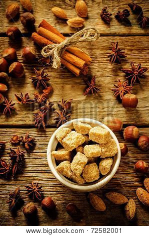 Cane Sugar With Nuts, Cinnamon And Star Anise