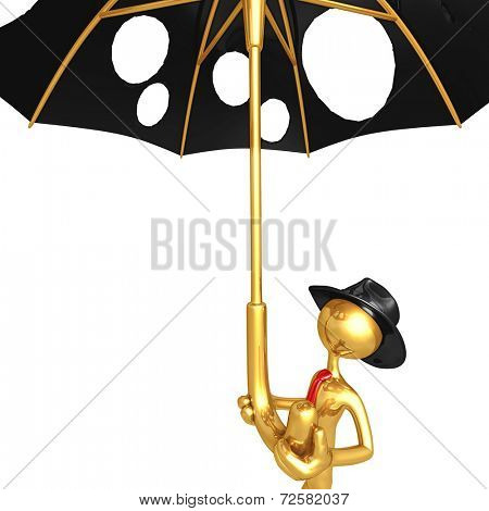 Businessman Holding A Giant Umbrella With Holes