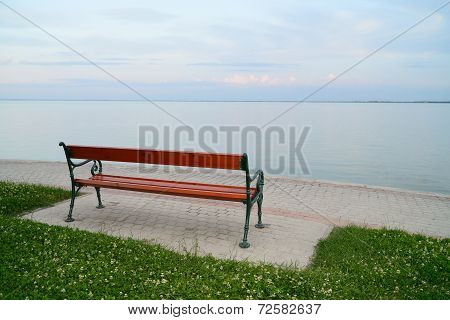 Empty Bench At Lake Balaton