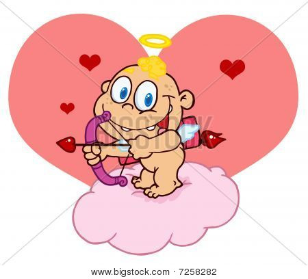 Cupid Baby Aiming An Arrow On A Cloud In Front Of A Heart