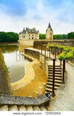 Chateau De Chenonceau Unesco Medieval French Castle, Garden And River. Loire, France