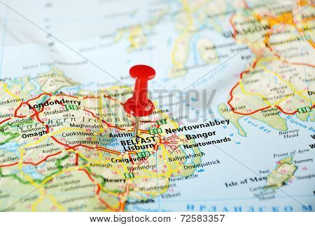 Belfast  Ireland  ,united Kingdom  Map