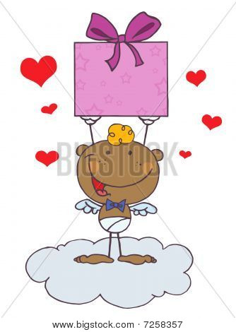 Black Stick Cupid On A Cloud, Holding Up A Gift