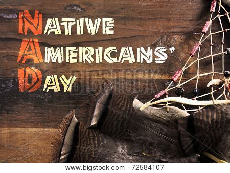Native Americans Day Wood Carving Style Greeting Text On Dark Rustic Recycled Wood Background With D