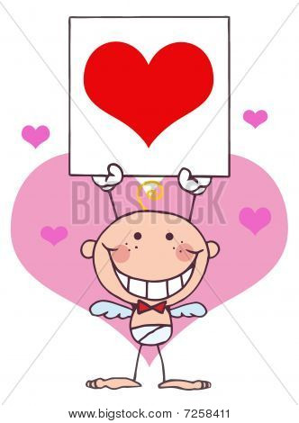 Stick Baby Boy Cupid Holding A Red Heart Sign