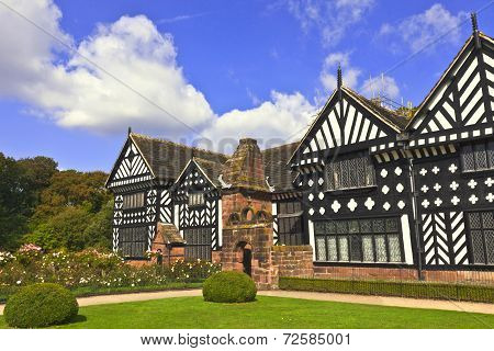 Historic Tudor manor house in Speke, Liverpool, England.