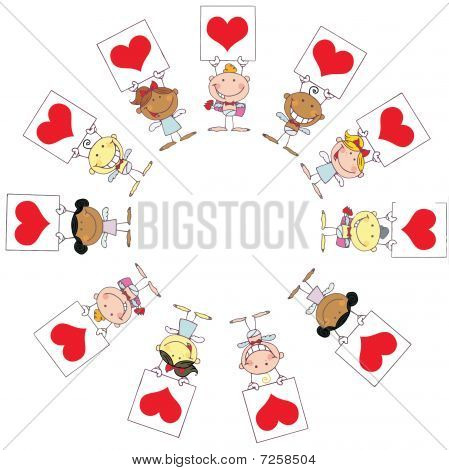 Cute Stick Cupids Holding Red Heart Signs In A Circle