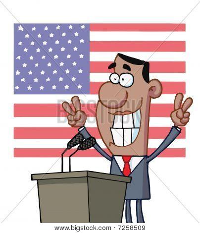 Smiley-Politiker Gestikulieren mit Peace-Zeichen und stehen auf einem Podium nach hält eine Rede vor