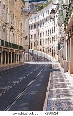 Empty Street In Lisbon Downtown