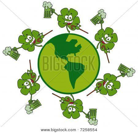 Circle Of Shamrocks Running Around A Globe With Green Beer