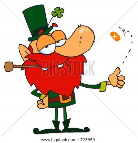 Lucky Leprechaun Playing with a Gold Coin