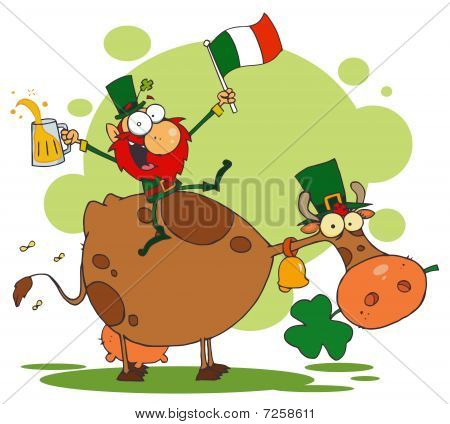 Lucky Leprechaun Riding a Cow with a Glass of Beer and An Irish Flag