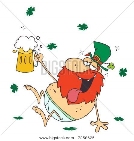 Drunk Leprechaun Lying Naked With Beer