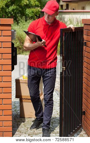 Delivery Man Waiting For Customer