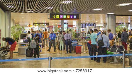 Interior of Madrid airport, departure aria