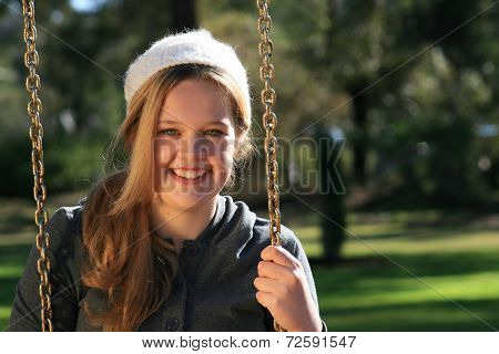 Girl On A Swing - Close Up Landscape