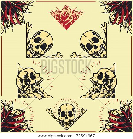 Skull and Rose Frames set 01