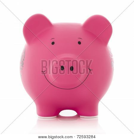 Pink Piggy Bank On A White Background