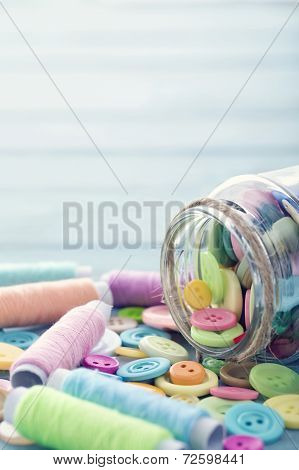 Multicolored Buttons And Spools Of Thread5