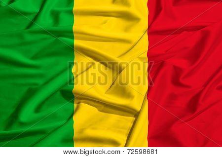 Mali  Flag On A Silk Drape Waving
