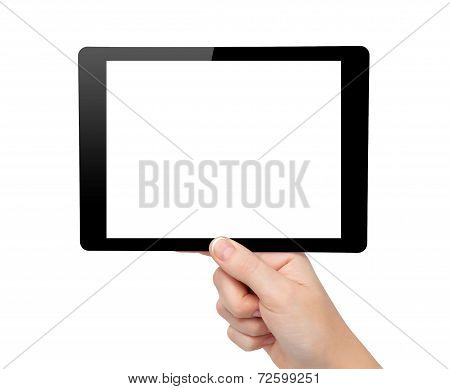 Woman Hand Hold A Mini Tablet Computer Gadget With Isolated Screen