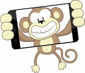 stock photo of chimp  - funny monkey cartoon photographing herself with smartphone isolated on white background - JPG