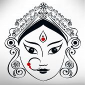 foto of subho bijoya  - Durga hindu goddess illustration in line art - JPG
