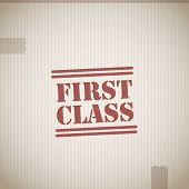 pic of first class  - First class stamp abstract vector illustration background - JPG